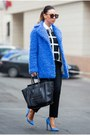 Blue-topshop-coat-white-forever-21-sweater-black-celine-bag