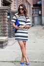 White-h-m-trend-dress-silver-zara-necklace-blue-zara-heels