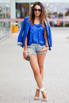 blue Zara blazer - sky blue denim cut off Zara shorts - black Fendi sunglasses