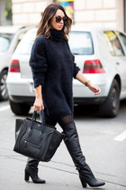 black H&M sweater - black knee-high boots H&M boots - black Celine bag