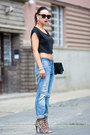 Sky-blue-boyfriend-jeans-h-m-jacket-black-clutch-yves-saint-laurent-bag