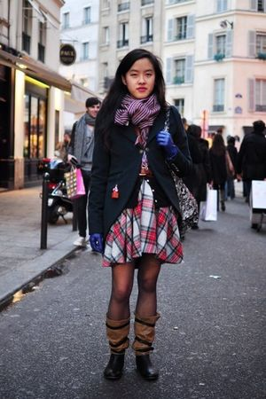 red Salvation Army skirt - brown Cotlac boots - blue Urban Outfitters accessorie