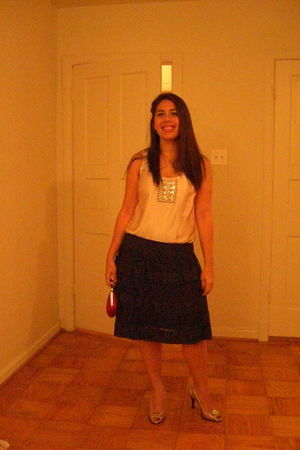 silver J Crew shirt - black Gap skirt - silver Michael Kors shoes - pink Express