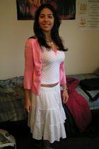 pink H&M shirt - pink cardigan - white Valija Gitana skirt