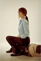 black H&M leggings - black Sirens shorts - sky blue thrifted blouse