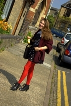 red Marks and Spencers tights - black Hush Puppies shoes - black Motel dress