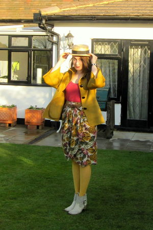 gold jaeger jacket - white kate kuba boots - gold vintage hat
