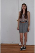 heather gray Target skirt - blue floral Rue 21 blouse