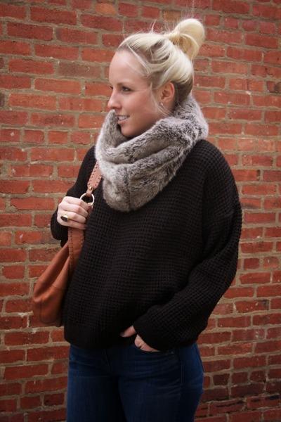 gray Restoration Hardware scarf - black Dolce Vita boots - navy 3x1 jeans