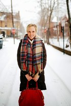 red Zara scarf - brown sheepskin snow Ugg boots - dark brown the north face coat