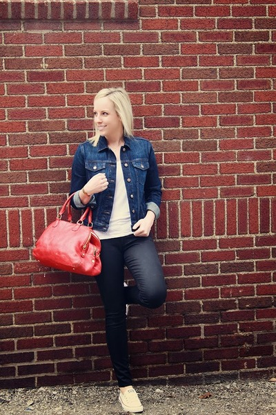 navy Gap jacket - red JCrew bag - white Gap t-shirt - white Converse sneakers