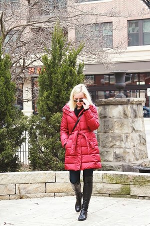 brick red JCrew coat - black stuart weitzman boots