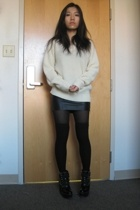 thrifted sweater - American Apparel skirt - H&M socks - Chloe boots