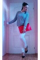 red DIY bag - black Rapeny sweater - white Bershka pants - black handmade heels