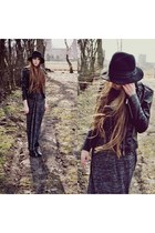 black Zara boots - dark gray second hand dress - black H&M jacket