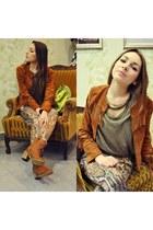tawny Zara jacket - tawny Street Shoes boots - tawny Zara pants
