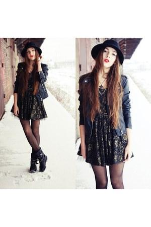 H&M hat - Zara boots - dress - H&M jacket