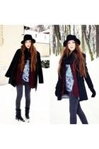 black Zara boots - black pull&bear coat - black H&M hat