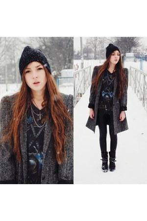 second hand coat - Zara boots - second hand t-shirt
