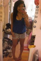 blue Forever21 shirt - blue Forever21 shorts - brown thrifted belt - blue neckla
