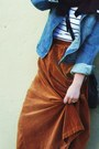 Burnt-orange-velvet-vintage-skirt-navy-denim-gap-jacket