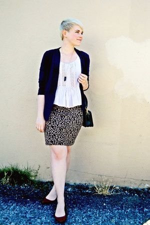 amethyst Anthropologie top - light brown Forever 21 skirt - navy J Crew cardigan
