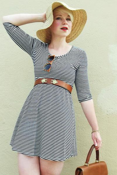 beige straw Gap hat - white striped Forever21 dress - brown Bianchi belt