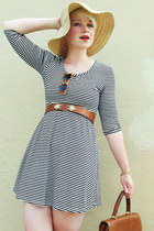 beige straw Gap hat - white striped Forever21 dress - brown Bianchi belt