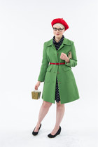chartreuse borrowed JCrew coat - navy polka dot Forever21 dress