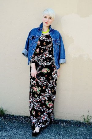blue vintage big e Levis jacket - black vintage maxi dress