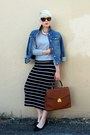 Navy-denim-gap-jacket-burnt-orange-vintage-bag-black-midi-forever-21-skirt