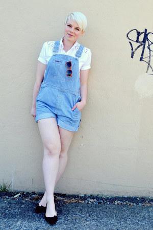 white hand painted shirt - blue overalls Gap shorts