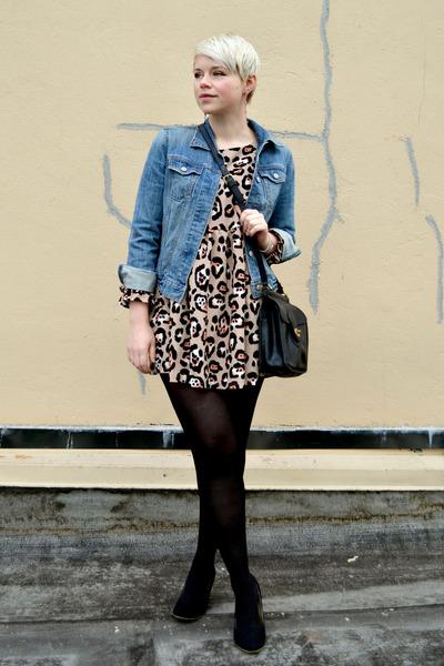 blue Gap jacket - peach leopard print OASAP dress - black JCrew tights