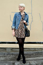 Peach-leopard-print-oasap-dress-blue-gap-jacket-black-jcrew-tights