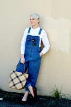 white mini OASAP dress - blue overalls Gap jeans