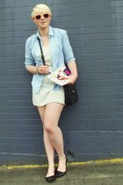 sky blue thrifted shirt - white polka dot H&M dress - black vitnage coach bag