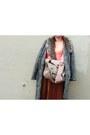 Tawny-velvet-vintage-skirt-heather-gray-h-m-hat-beige-aldo-purse