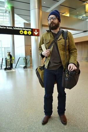 dark brown Filson bag - dark khaki Filson bag - brown Lucchese boots