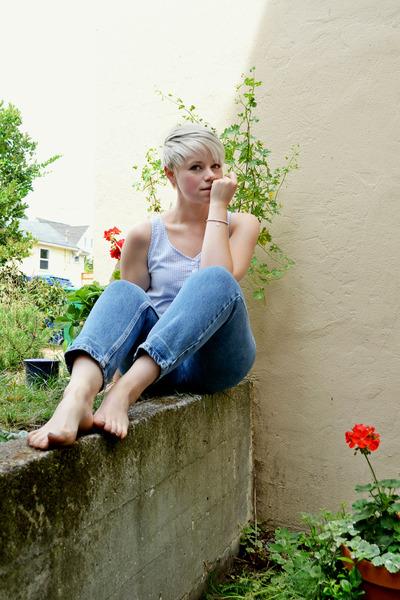 blue vintage Levis jeans - sky blue top