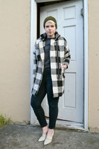 off white plaid OASAP coat - army green Top Shop hat - black BDG pants