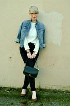 cream Gap sweater - black coach purse - navy highrise skinny Gap pants
