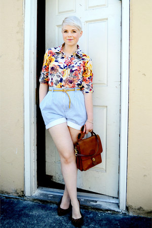 gold Romwomen blouse - tawny coach bag - sky blue vintage shorts