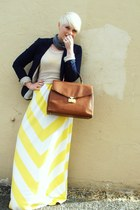 light yellow maxi Gap dress - beige vintage sweater - navy H&M blazer