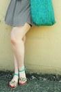 Black-striped-forever21-dress-turquoise-blue-vintage-bag