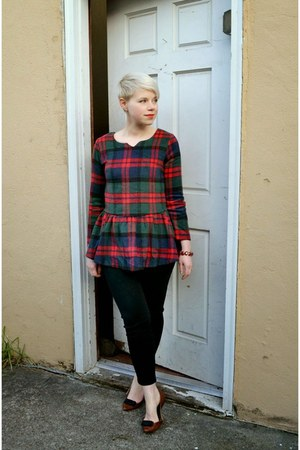 ruby red flannel plaid Choies top