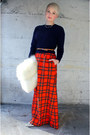Navy-vintage-sweater-red-vintage-wool-pendleton-skirt-silver-vintage-heels