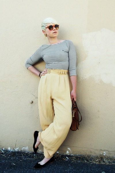 light yellow palazzo vintage pants - white Zara shirt