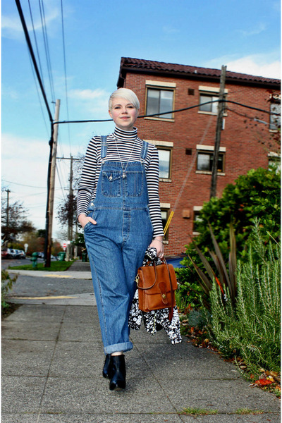 black Sixty Seven boots - blue overalls jeans - white OASAP jacket