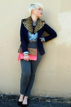 salmon clutch H&M bag - navy H&M blazer - camel scarf