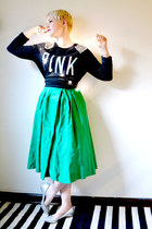 green vintage satin dress
